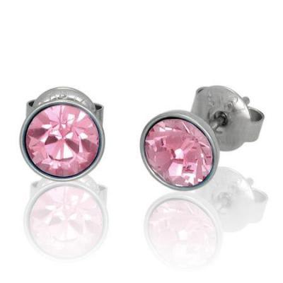 Cercei otel inox cu pietre roz