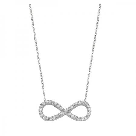 Colier argint 925 rodiat cu simbolul infinit si zirconii albe - Infinite You CTU0053