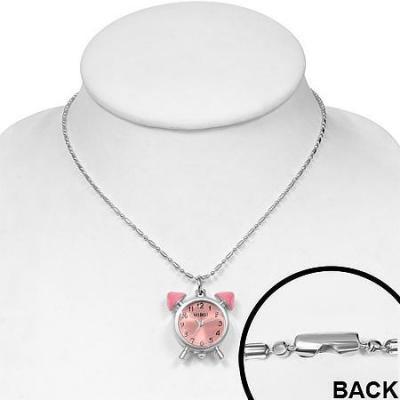 Colier cu ceas roz si lantisor argintiu1