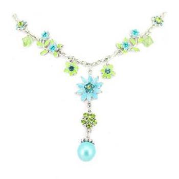 Colier cu floricele si pietre bleu si verzi