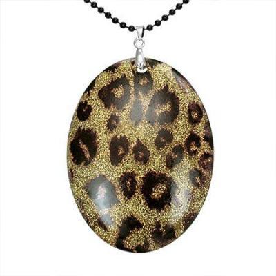 Colier cu pandantiv model leopard si lant negru