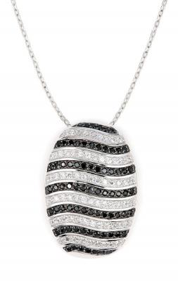 Colier elegant argint 925 rodiat cu zirconii albe si negre Be Special1