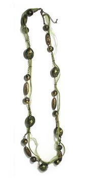 Colier elegant lung culoare verde 100 cm