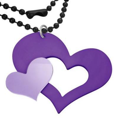 Colier cu doua inimioare mov si lant militar negru 73 cm