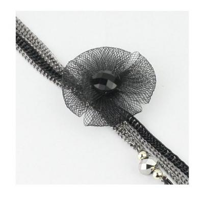 Colier elegant lung, metalic, cu floare si lantisoare [1]