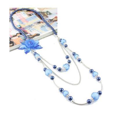 Colier fantezie cu floare albastra [1]