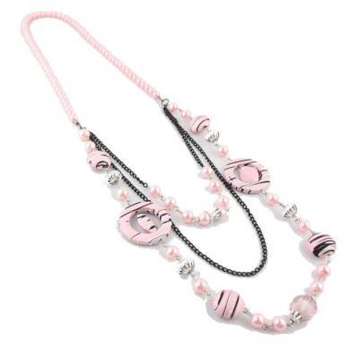 Colier fantezie cu margele roz1
