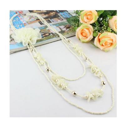 Colier fantezie cu trandafir alb1