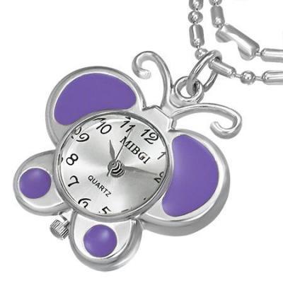 Colier fluturas cu ceas violet si lantisor argintiu0