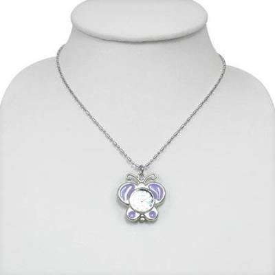 Colier fluturas cu ceas violet si lantisor argintiu1