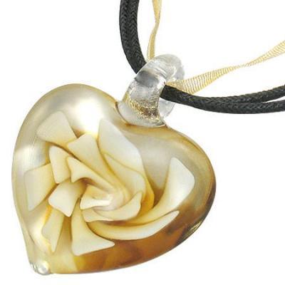Colier inimioara cu floare0