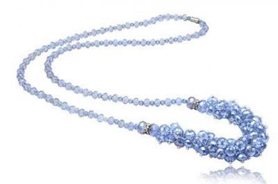 Colier lung cu cristale bleu