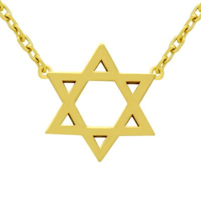 Colier steaua lui David argint 925 placat cu aur1