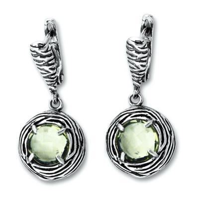 Cercei eleganti argint 925 cu ametist verde