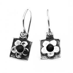 Cercei argint 925 Israel floricele cu onix - Be Nature EPO0010