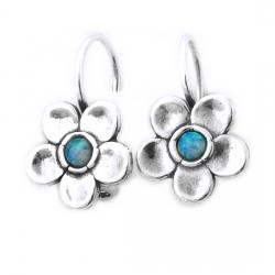 Cercei argint 925 Israel floare cu opal imperial - Be Nature EPO00140