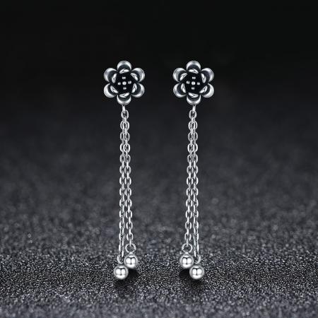 Cercei lungi din argint 925 cu floare de lotus si aspect vintage - Be Nature EST00051
