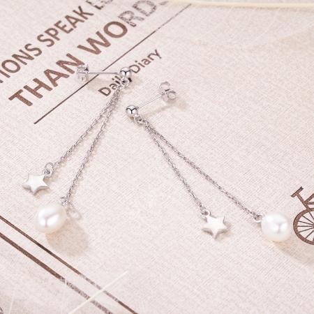 Cercei lungi din argint 925 cu perle fine, stelute si zirconii albe - Be Elegant EST00112