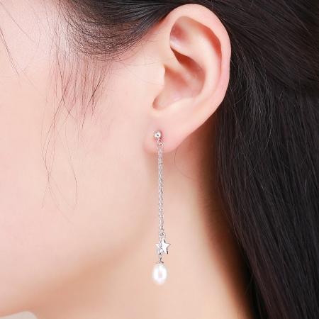 Cercei lungi din argint 925 cu perle fine, stelute si zirconii albe - Be Elegant EST00115