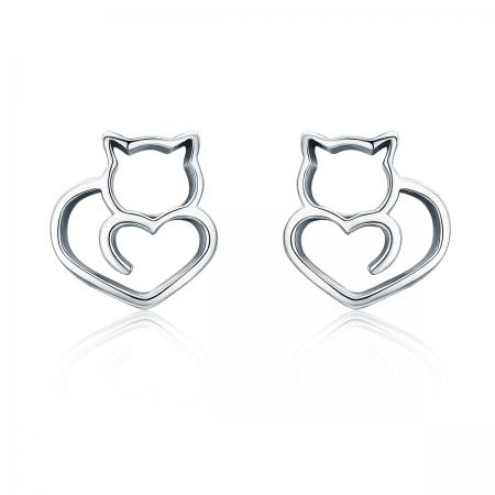 Cercei argint 925 cu pisicute si inimioare - Be Nature EST0014