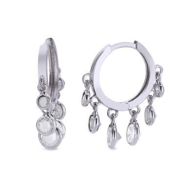 Cercei creole din argint 925 cu zirconii albe Be Elegant