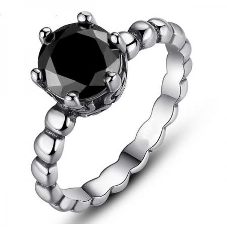 Inel placat cu argint cu piatra neagra IST0001