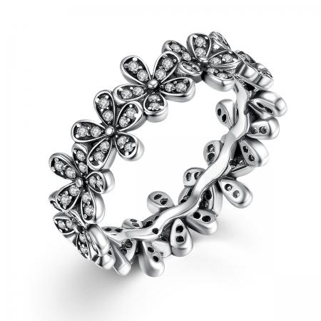 Inel placat cu argint cu floricele IST0006