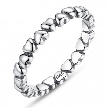 Inel argint 925 patinat cu inimioare - Be in Love IST0010