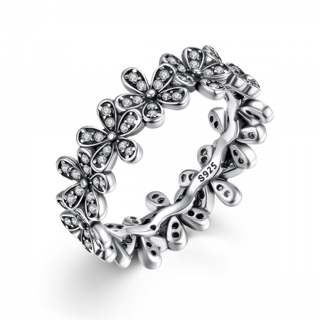 Inel argint cu floricele si zirconii albe - Be Nature IST0011