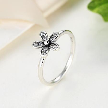 Inel argint cu floare si zirconii albe - Be Nature IST0012_1734