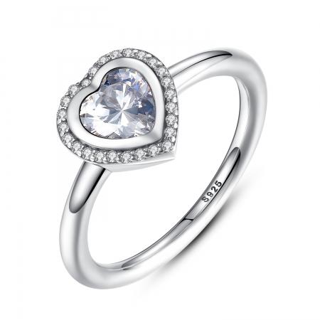 Inel argint 925 cu inimioara si zirconii albe IST0013