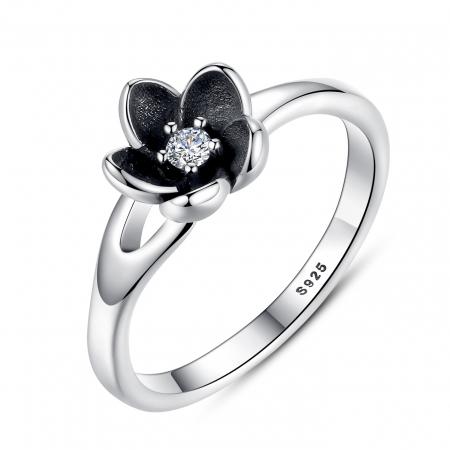 Inel argint 925 cu floare si zirconiu alb IST0015
