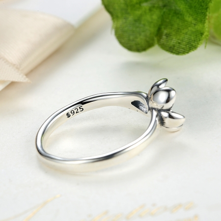 Inel argint 925 cu floare si zirconiu alb IST00154