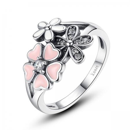 Inel argint 925 cu floricele si zirconii albe - Be Nature IST0017