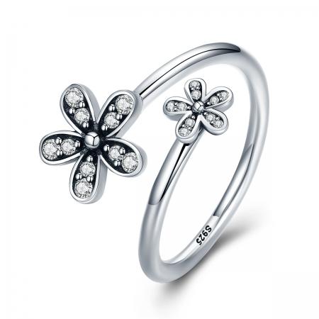 Inel argint 925 reglabil cu floricele si zirconii albe - Be Nature IST0024
