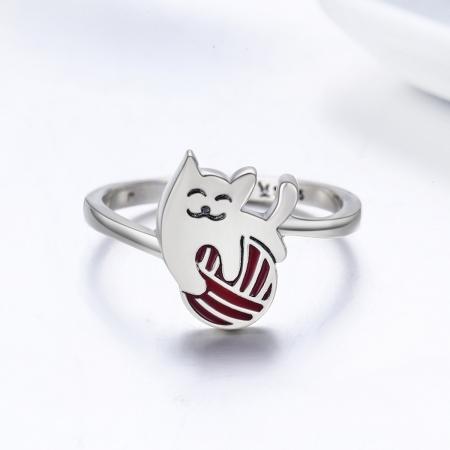 Inel argint 925 cu pisicuta jucausa si ghem - Be Nature IST00361