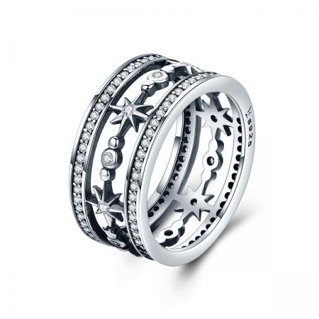Inel argint 925 cu stelute stralucitoare si zirconii albe - Be Elegant IST0038_173