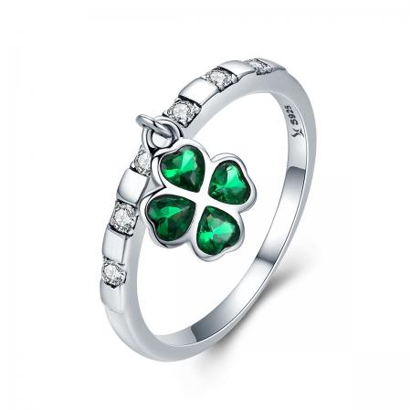 Inel argint 925 cu talisman in forma de trifoi cu patru foi - Be Lucky  IST0039