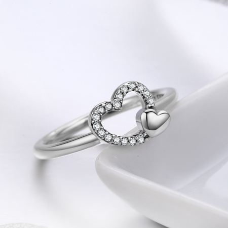 Inel argint 925 cu inimioare si zirconii - Be in Love IST00401