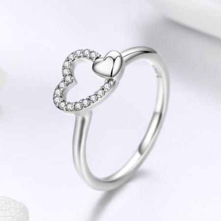Inel argint 925 cu inimioare si zirconii - Be in Love IST00403