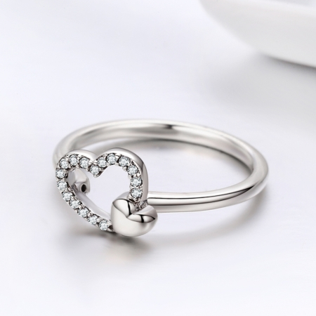 Inel argint 925 cu inimioare si zirconii - Be in Love IST00404