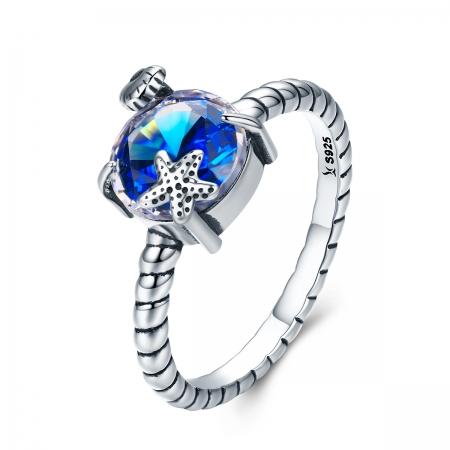 Inel argint 925 cu steluta de mare, scoica si zirconiu albastru - Be Nature IST0041