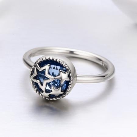 Inel argint 925 cu stelute argintii si cristal albastru - Be Nature IST00442