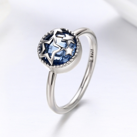 Inel argint 925 cu stelute argintii si cristal albastru - Be Nature IST00443