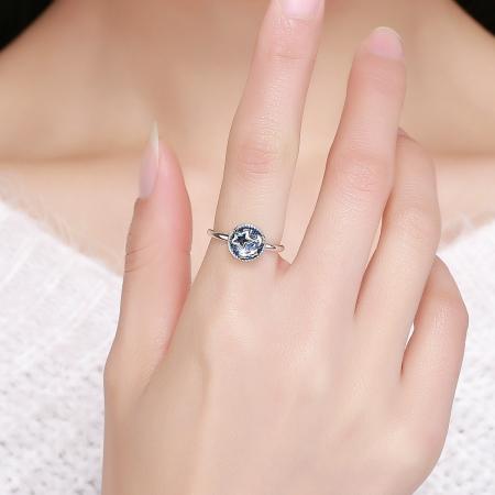 Inel argint 925 cu stelute argintii si cristal albastru - Be Nature IST00444