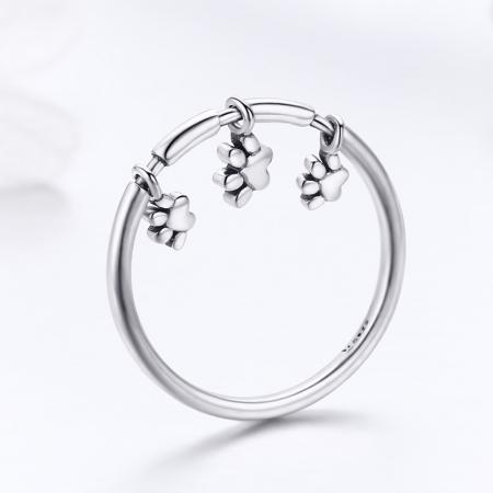 Inel argint 925 cu amprente labute catel - Be Nature IST0052