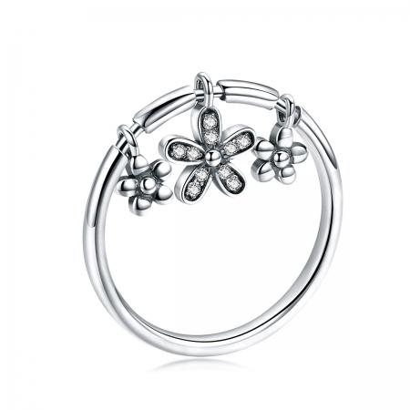 Inel argint 925 cu trei floricele si zirconii albe - Be Nature IST0053