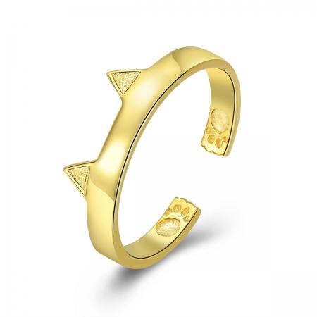 Inel reglabil argint 925 aurit cu urechiuse de pisicuta - Be Nature IST0054