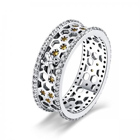 Inel argint 925 cu albinuta, fagure si zirconii - Be Nature IST0056