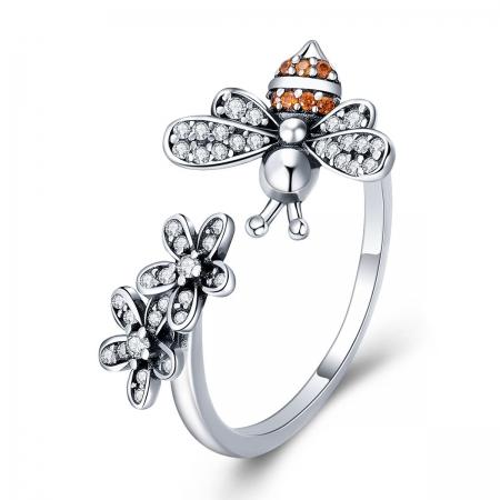 Inel reglabil argint 925 cu albinuta, floricelem si zirconii - Be Nature IST0064